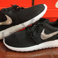 Nike Roshe Run Black White Swarovski Crystal Accent Blinged Out Custom Women