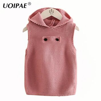 Kids Sweater Vvest 2017 New Winter Casual Solid Color Baby Girl Vest Simple Sleeveless Hooded Kids Clothes Girls 4351W