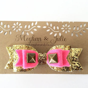 Baby Girls Studded gold and pink glitter bow, Bright Pink bow, Glitter and felt Hair Bow, Sparkling Hair Clip,  Headbands by Meghanandjulie