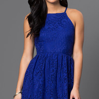 Short Lace Spaghetti Strap Dress
