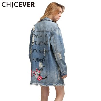 [CHICEVER] Long Sleeve Back Embroidery Flowers Denim Jacket 2017 Spring Vintage Women Basic Coats New Fashion Streetwear