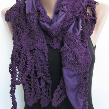 15% SALE Purple cotton shawl, summer shawl, fall scarf