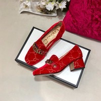 Top quality 2020 office GUCCI Women Fashion Retro Buckle Leather Heels sandals Shoes