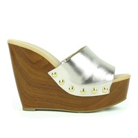 Mark and Maddux Asia-01 Slip-on Platform Wedge Sandal in Silver @ ippolitan.com