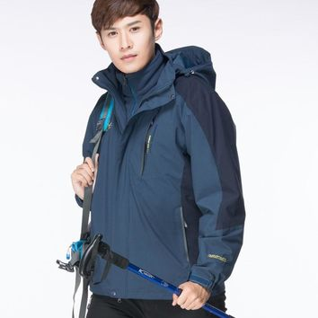 New Winter 2 In 1 Jack Waterproof Thermal Fleece Hiking Jackets Camping Outdoor Waterproof Jacket Hunting Clothes L-7XL Big Size
