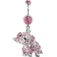 14G Steel Pink Elephant Navel Barbell