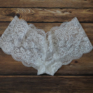 White Lace Bridal Panties, White Cheeky Panties, White Bridal Panties, White Lace Panties, Handmade Lace Panties, White Panties