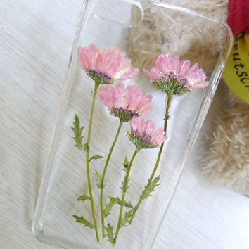 Apple iPhone 6 5 5S 5C Samsung Galaxy Note 4 s5 s4 Handmade Real Dry Pressed Flower Phone Case
