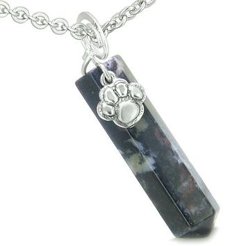 Amulet Lucky Wolf Paw Crystal Point Dragon Blood Gemstone Spiritual Protection Pendant Necklace