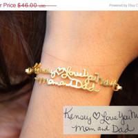 ON SALE Hello February SALE - Signature/Handwriting Bangle - Signature Bracelet - Valentines Gift - Mother's Day gift - Ships in 1-2 Weeks