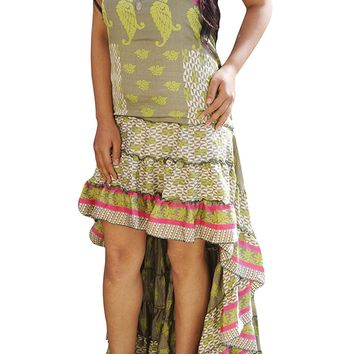 Womens Ruffle Flare Hi Low Dress Recycled Silk Lost In A Dream Strapless Fishtail Swirling Sundress: Amazon.ca: Clothing & Accessories