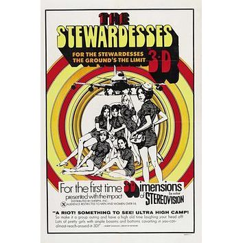Stewardesses In 3D Movie poster Metal Sign Wall Art 8in x 12in