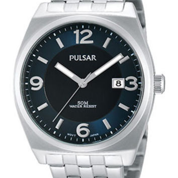 Pulsar Mens Easy Style Collection Watch - Blue Dial - Date - Bracelet - WR 50m