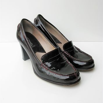 Pumps Heeled Loafers Penny Loafer Patent Leather Bayville Loafer Michael Kors 8