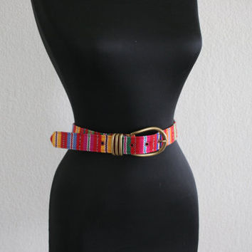 Vintage 80s bright woven belt with deco style buckle