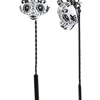 SUGAR CRITTERS SUGAR PANDA FRONT AND BACK EARRINGS BLACK-WHITE
