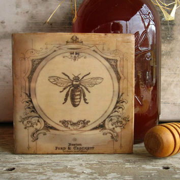French Bee Art Cottage Honey Bee Encaustic by KissedByABee on Etsy