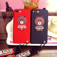 Love bear Lanyard mobile phone case for iPhone X 7 7plus 8 8plus iPhone6 6s plus -171031