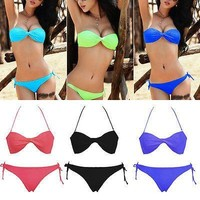 Women Bandage top Triangle Bikini Push-up Swimsuit Bathing Suit Swimwear