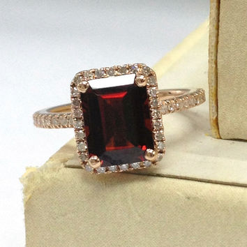 Garnet Engagement Ring 14K Rose Gold!Diamond Wedding Bridal Ring,6x8mm Emerald Cut VS Natural Red Garnet,Halo Pave set,Can Matching Band
