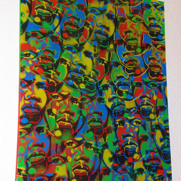 Carnival,Large abstract painting of African faces,canvas,tribal,stencil art,spray paint,pop,green,yellow,blue,red,urban,graffiti,home,living