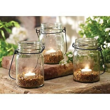 Order Home Collection 3-piece Hanging Mason Jar Tealight Set Candle Decor Table