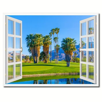 Palm Springs California Golf Course Picture French Window Framed Canvas Print Home Decor Wall Art Collection