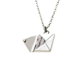 Love Letters Sterling Silver Envelope Necklace