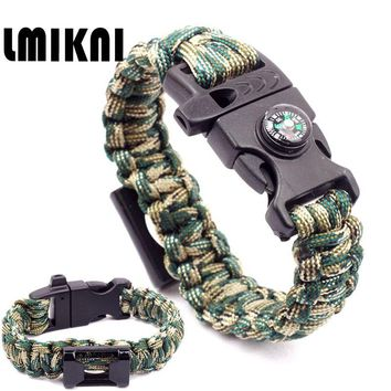 LMIKNI Multi-Functional Outdoor Tools Bracelet Opener Braided Rope Paracord Survival Bracelet