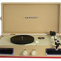 Crosley CR40-RE Mini Turntable with Full-Range Stereo Speakers (Red & Cream)