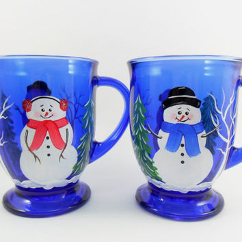 Coffee Mug Cobalt Blue Cup Snowman Hand Painted Set of 2