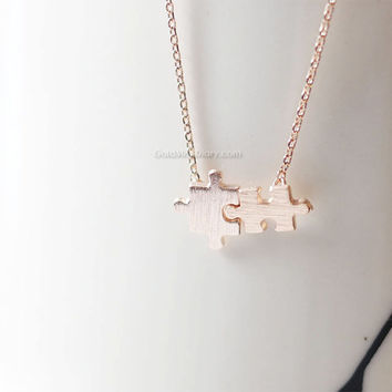 Fun puzzle necklace in rose gold/ rose gold puzzle necklace/ dainty, simple and fun, wedding gifts, bridesmaid gifts, gifts ideas