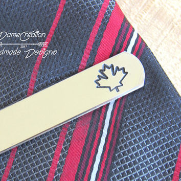 Leaf Tie Clip, Custom Tie Bar, Engraved Tie Clip, Wedding Gift, Groom Gift, Groomsmen Tie Clip, Personalized Tie Bar