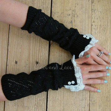 Lacey Arm Warmers - 5 colors - womens Fingerless Gloves - open-knit with lace trim and faux buttons