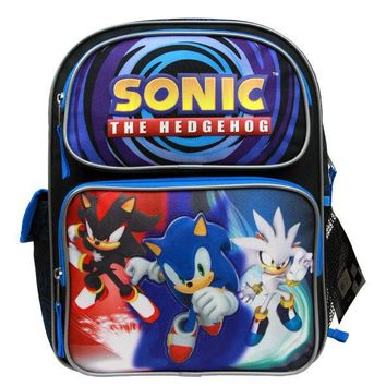 "Sega Sonic The Hedgehog 14"" Canvas Blue School Backpack"