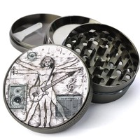 Davinci Guitar Man Leonardo Davinci Artwork Extra Large 4 Chamber Spice & Herb Grinder With Microfine Screen