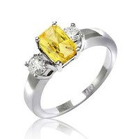 Bling Jewelry Sterling Silver Three Stone Yellow Citrine Color CZ Canary Engagement Ring: Jewelry: Amazon.com