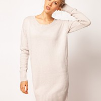 ASOS Woven Back Jumper Dress In Angora at asos.com