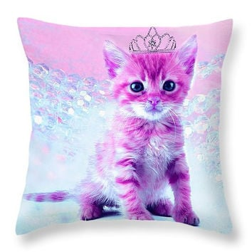 Decorative accent throw pillow, abstract contemporary modern home decor artwork on pillow pink kitty cat kitten little princess, girl room