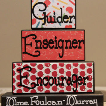 Unique Teachers Gift in French Words Guider/Enseigner/Encourager