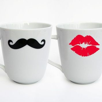 Mustache and Kiss Mug Set of 2 Variety of Colors by modernmadness