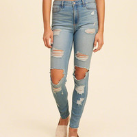 Girls Shredded High-Rise Super Skinny Jeans | Girls Bottoms | HollisterCo.com