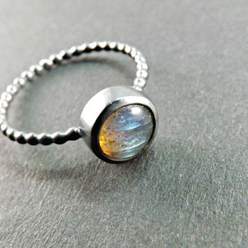fine labradorite ring, engagement ring labradorite, black silver ring, delicate silver ring blue gem, filigree ring sterling silver wedding