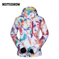 MUTUSNOW Women Ski Jacket Hooded Windproof Waterproof Winter Clothing Skiing Snowboard Thermal Thicken Outdoor Sport Wear Coat