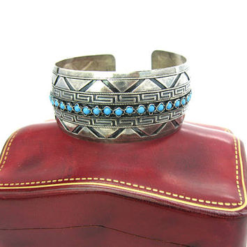 Persian Turquoise Bracelet. Wide 935 European Sterling Silver Cuff. Greek Key, Black Enamel Geometric Zig Zag Bands Handmade Vintage Jewelry