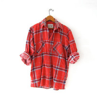 Vintage Plaid Flannel Shirt. Boyfriend Shirt. Red Button Up Shirt. Preppy Grunge Shirt.