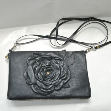 Black Leather ipad bag,Zipper Clutch Wallet , crossbody bag with flover, Leather Organizer, Leather Sketchbook Cover, crossbody zipper bag