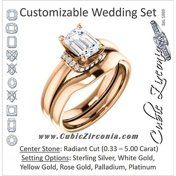 CZ Wedding Set, featuring The Jennifer Elena engagement ring (Customizable Radiant Cut featuring Saddle-shaped Under Halo)