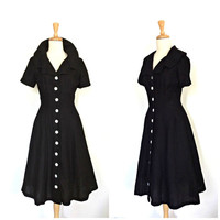 1950s  Dress - 50s swing dress - Gay Gibson - full skirt - cotton dress - Medium