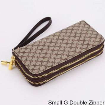 GUCCI Double G Wallet Wallet Multi Card Mobile Phone Bag Small G Double Zipper
